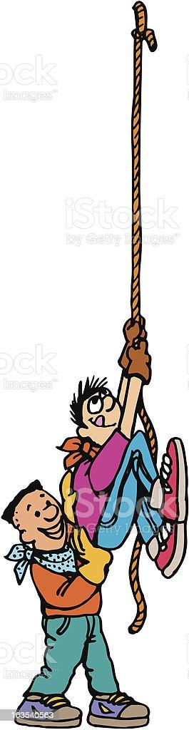 cowboy kids climbing a rope royalty-free stock vector art