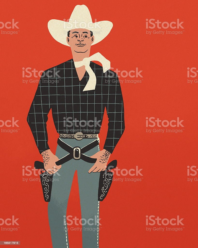 Cowboy on a Red Background vector art illustration