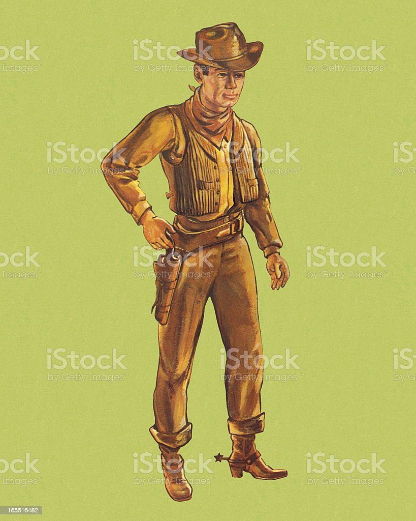 Cowboy on Green Background vector art illustration