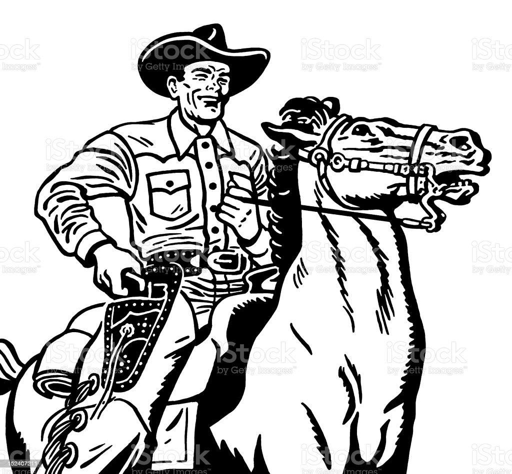 Cowboy on Horse vector art illustration