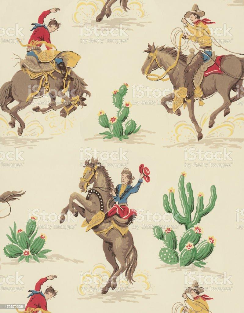 Cowboy Pattern vector art illustration