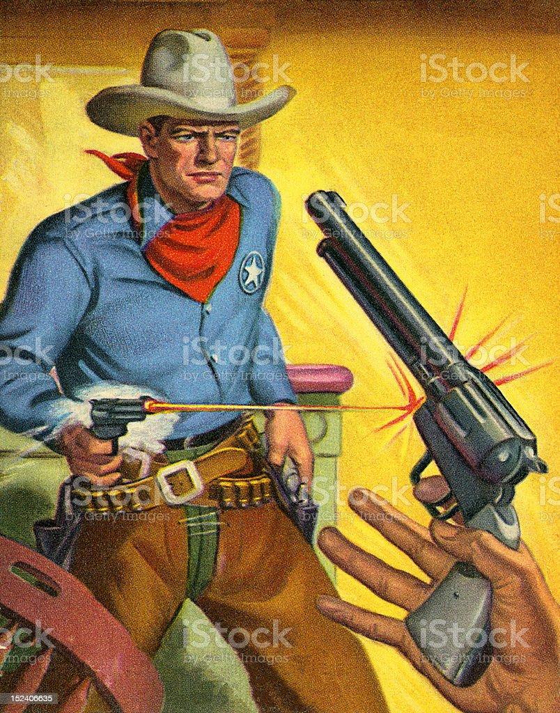 Cowboy Quick Draw vector art illustration