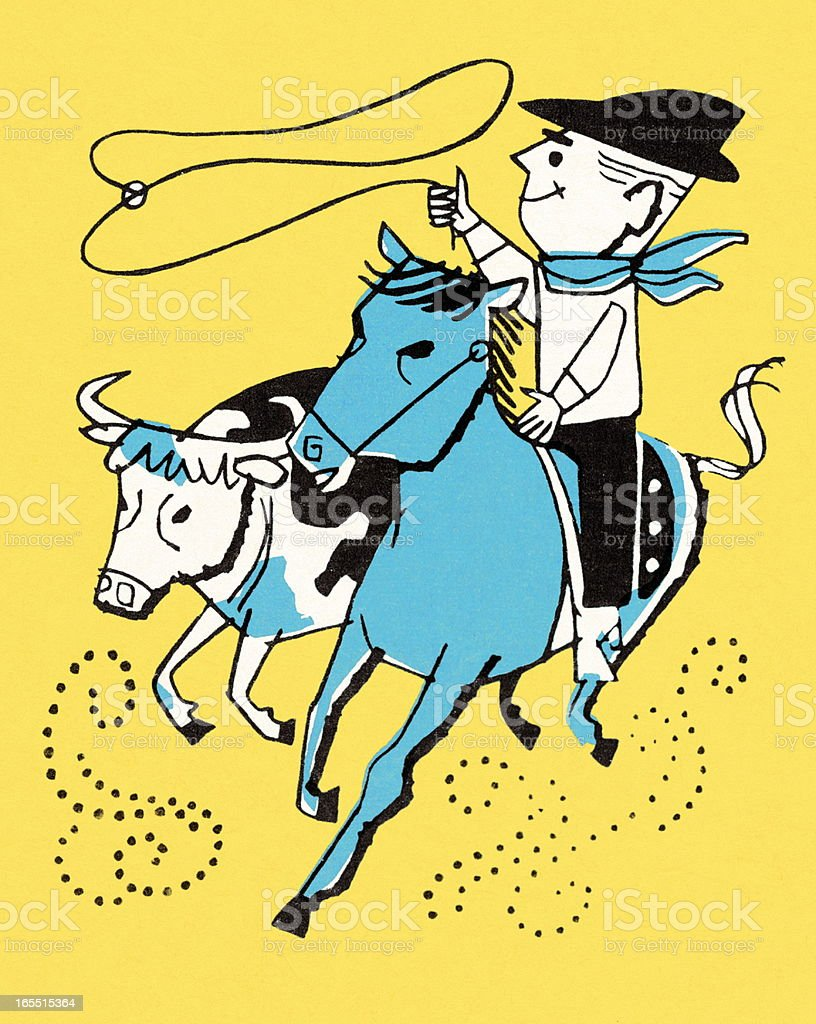 Cowboy Roping a Steer royalty-free stock vector art