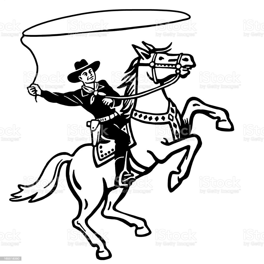 Cowboy Throwing a Lasso on a Horse vector art illustration