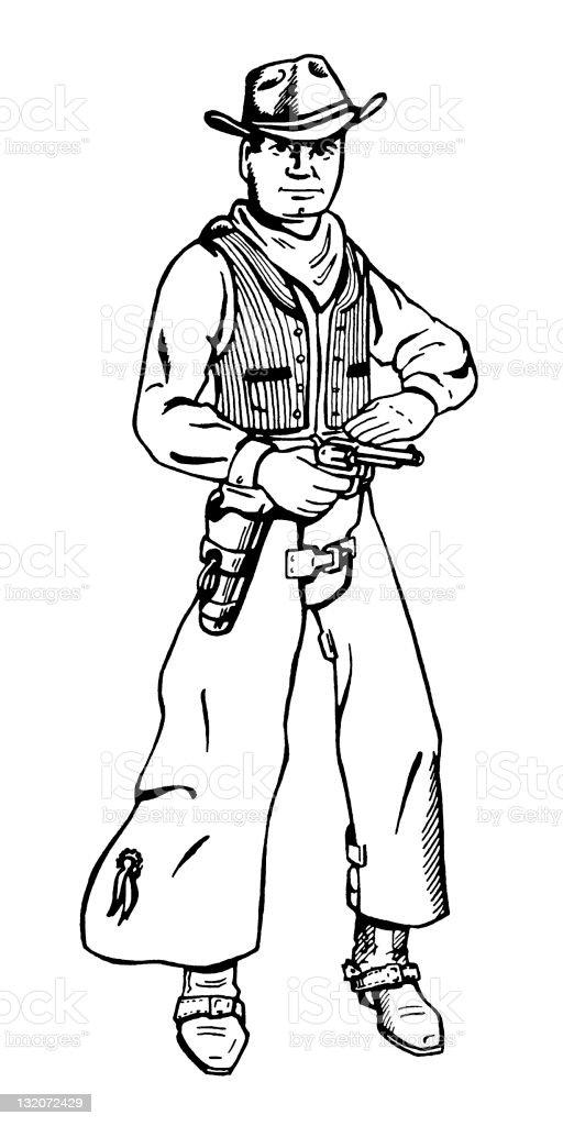 Cowboy With Gun vector art illustration