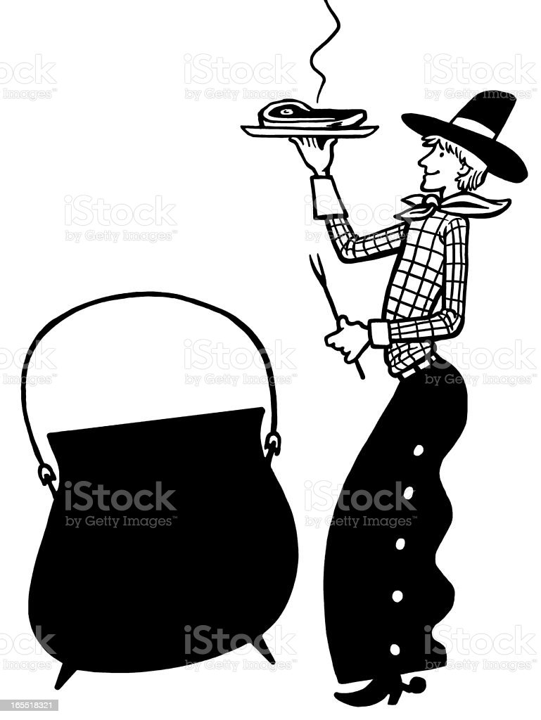 Cowboy with Steak Dinner and Kettle vector art illustration