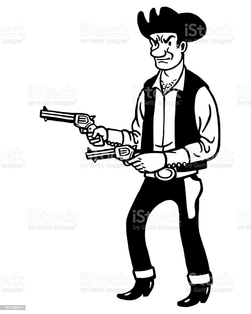 Cowboy With Two Guns vector art illustration