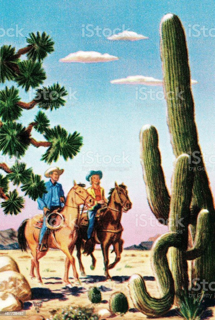 Cowboys in the desert vector art illustration