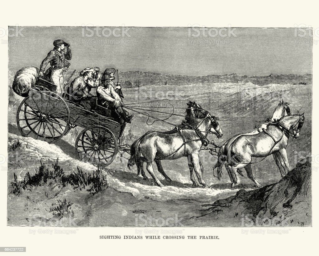Cowboys sighting Indians crossing the Prairie, 19th Century vector art illustration