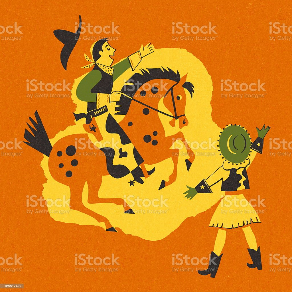 Cowgirl and Cowboy on a Horse vector art illustration