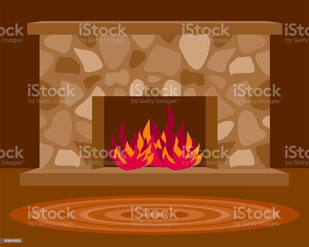 Cozy Fireplace vector art illustration