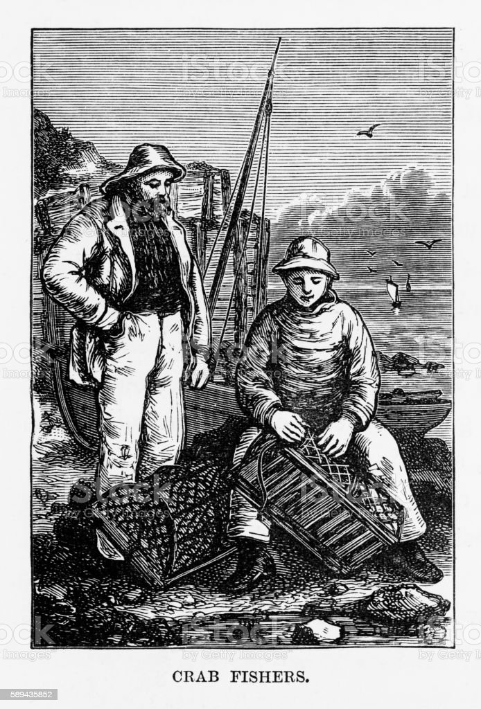 Crab Fishermen in Yorkshire, England Victorian Engraving, Circa 1840 vector art illustration