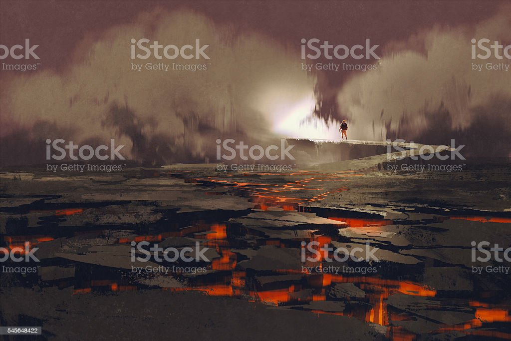 cracks in the ground with magma vector art illustration