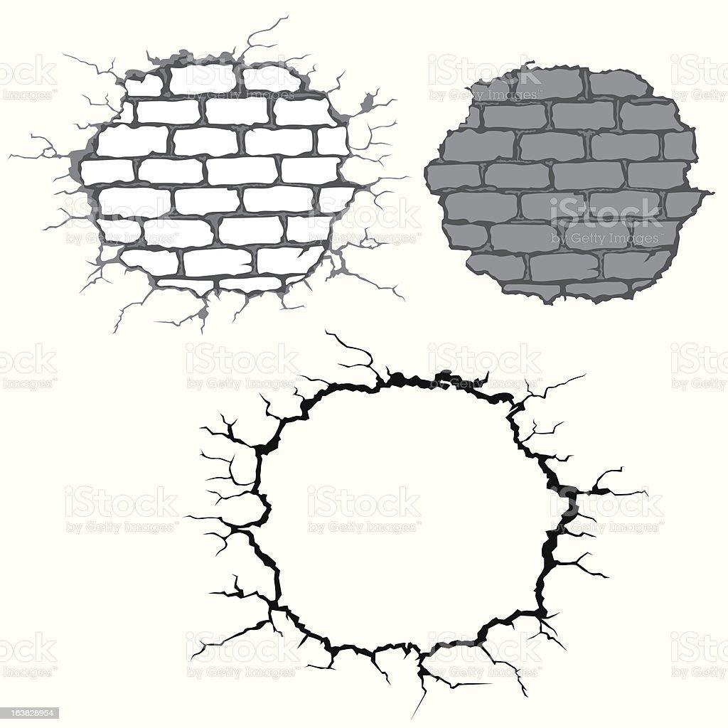 cracks on brick wall vector art illustration