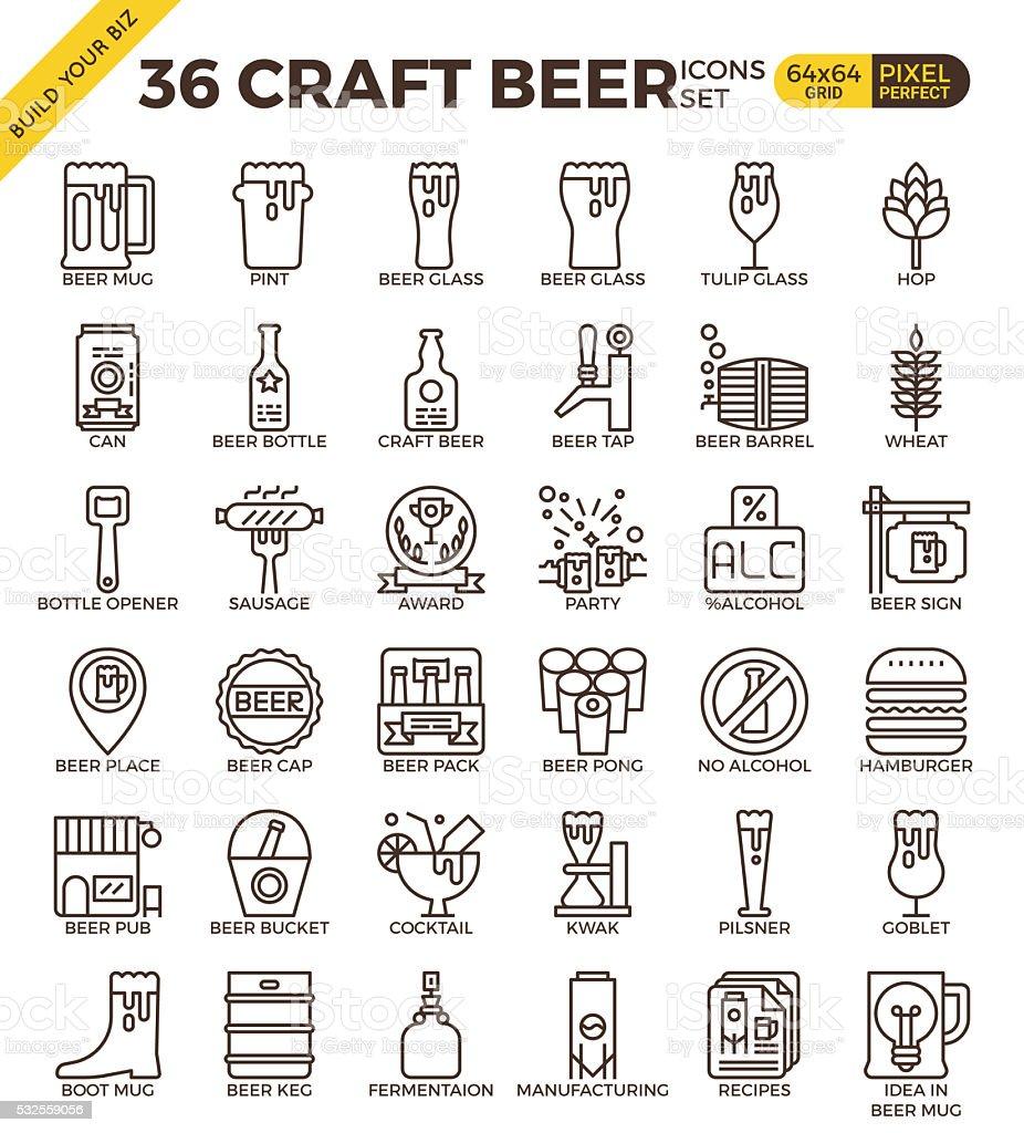 Craft Beer icons vector art illustration