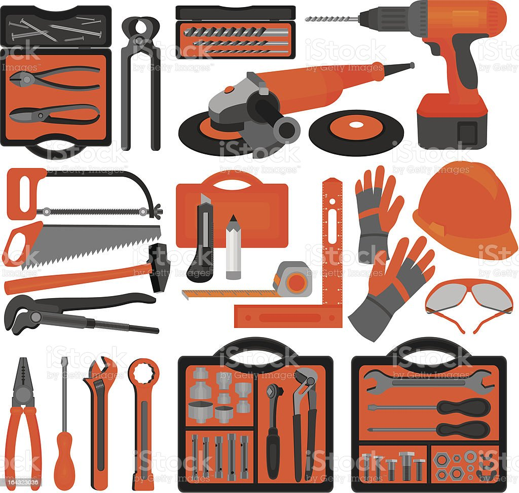 Craft icons – Hand tools (Set 1) royalty-free stock vector art
