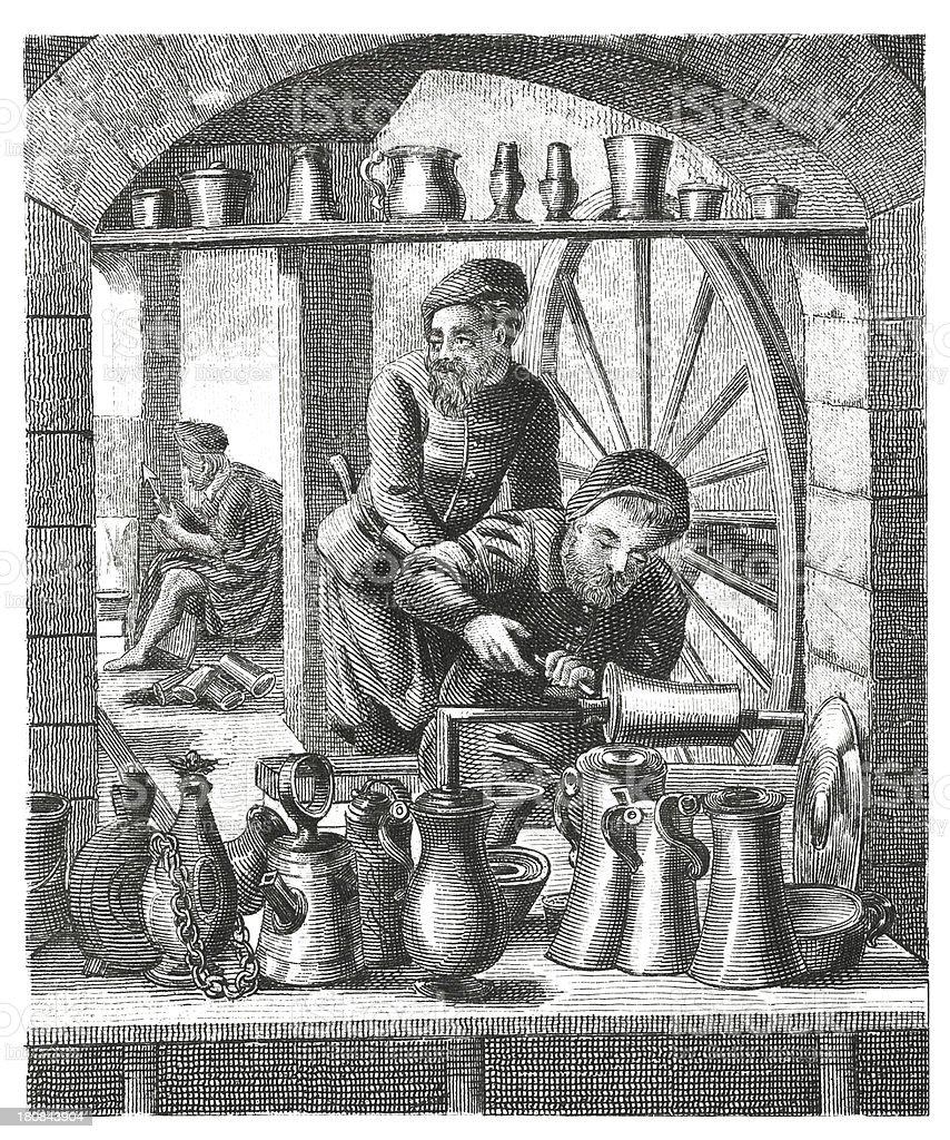 Craftsmen, XVI century (antique wood engraving) royalty-free stock vector art