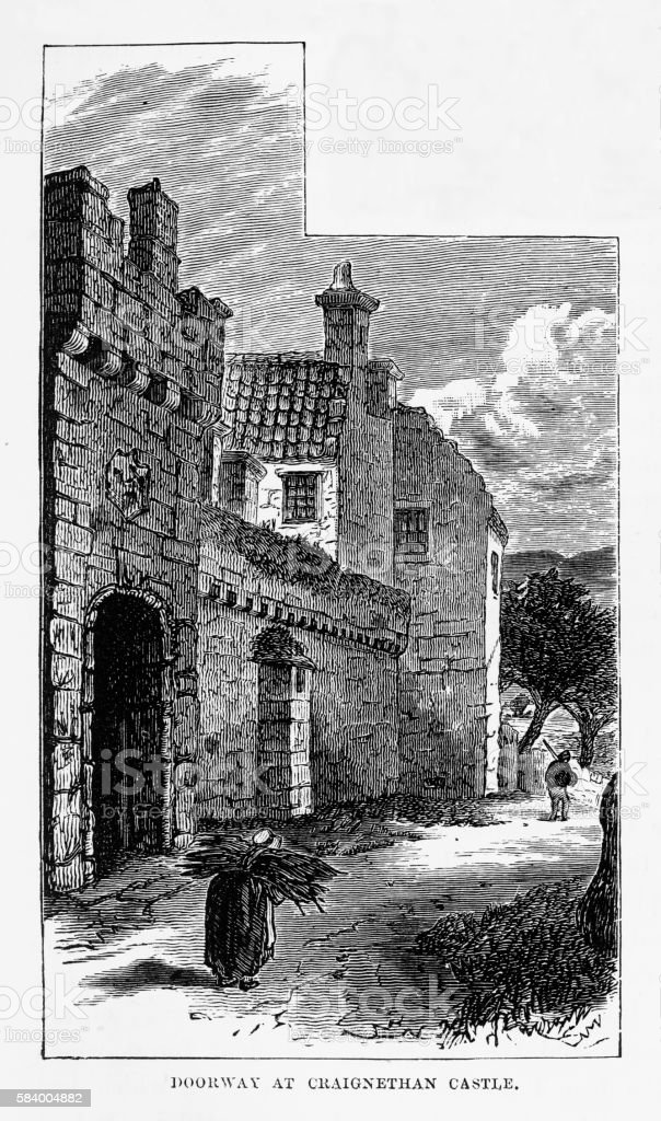 Craignethan Castle in South Lanarkshire, Scotland Victorian Engraving, Circa 1840 vector art illustration