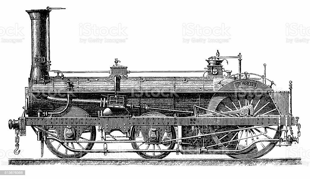 Crampton Steam Locomotive vector art illustration