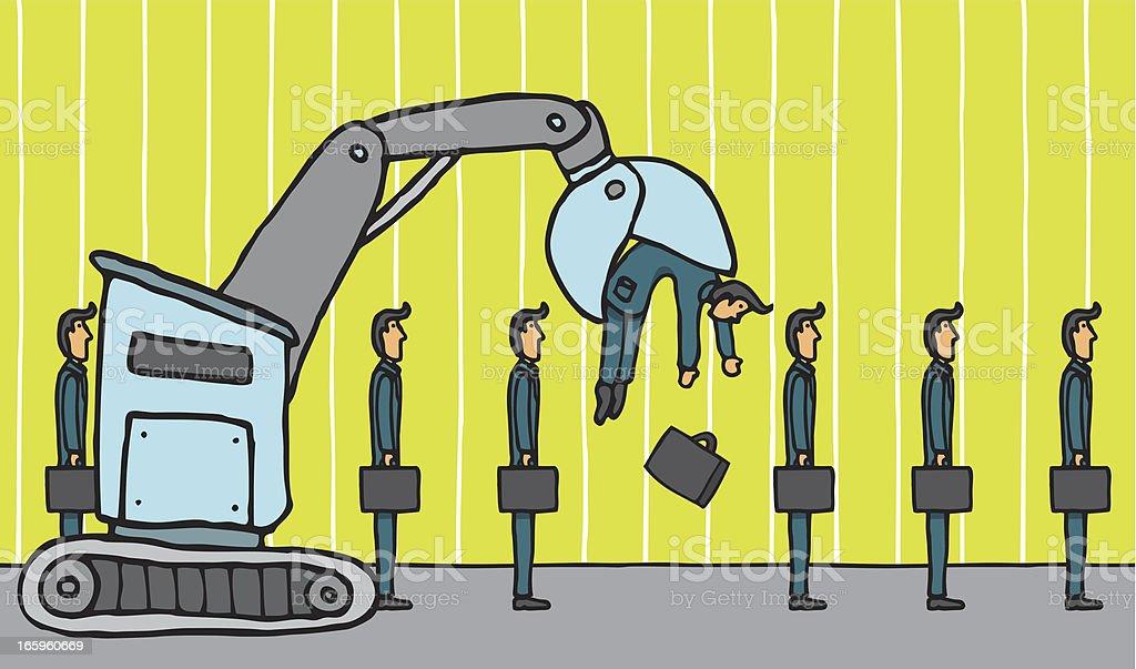 Crane removing businessman royalty-free stock vector art