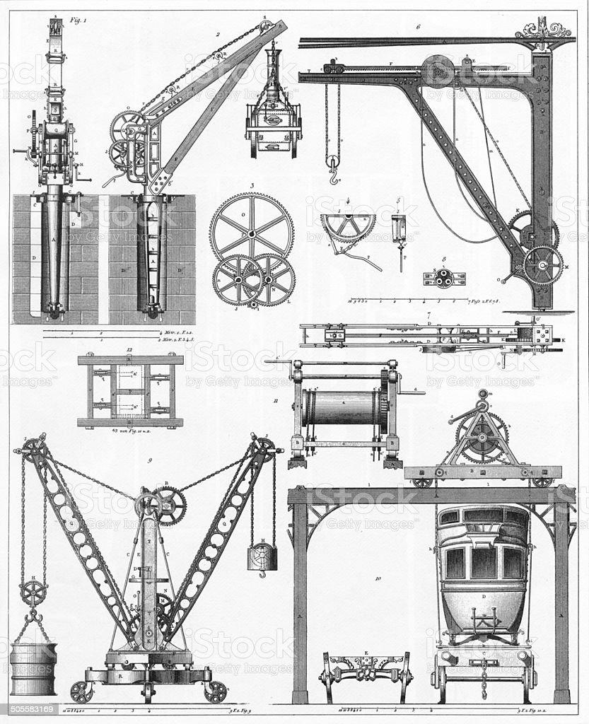 Cranes and Windlasses Engraving vector art illustration