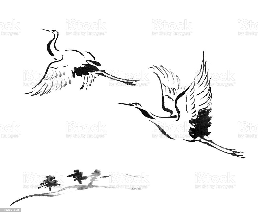 cranes royalty-free stock vector art