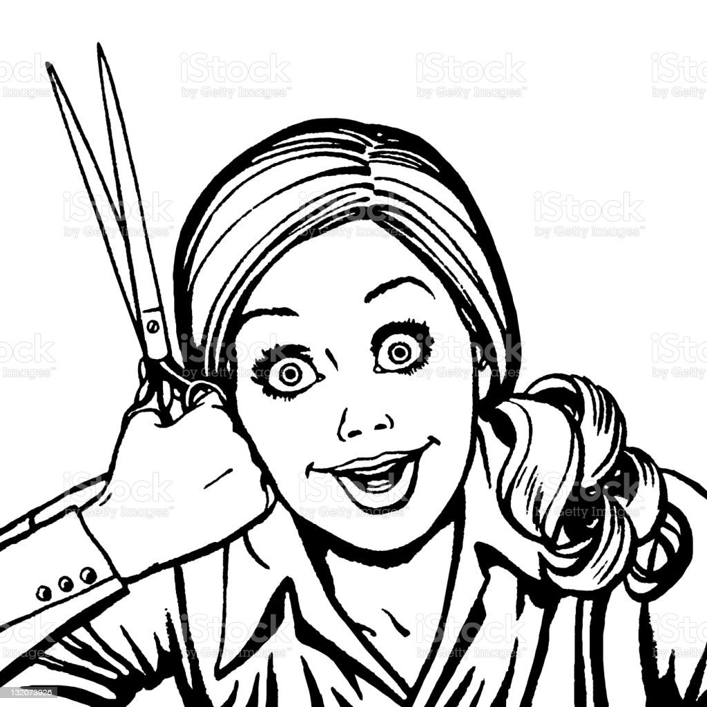 Crazed Woman With Scissors royalty-free stock vector art