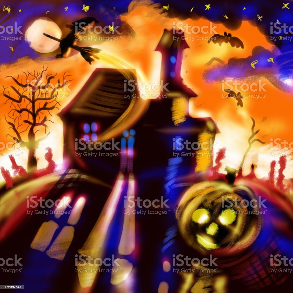 Crazy Halloween Night royalty-free stock vector art