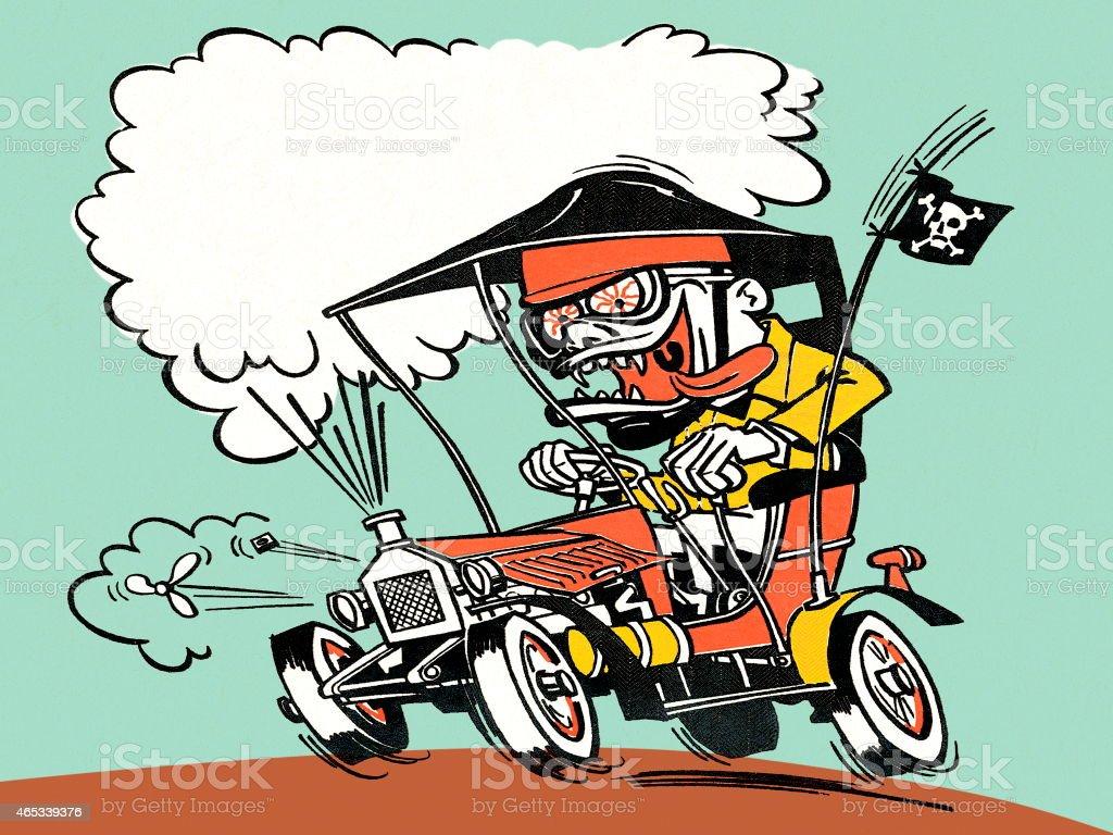 Crazy pirate vector art illustration