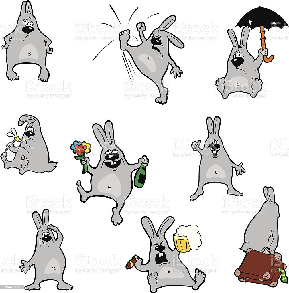 Crazy Rabbits royalty-free stock vector art