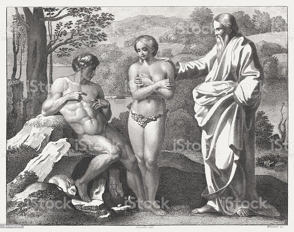 Creation of Eve (Genesis 2), steel engraving, published in 1841 vector art illustration