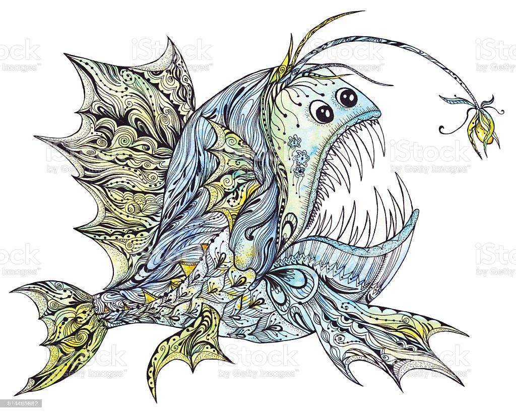 Creative Anglerfish Illustration vector art illustration