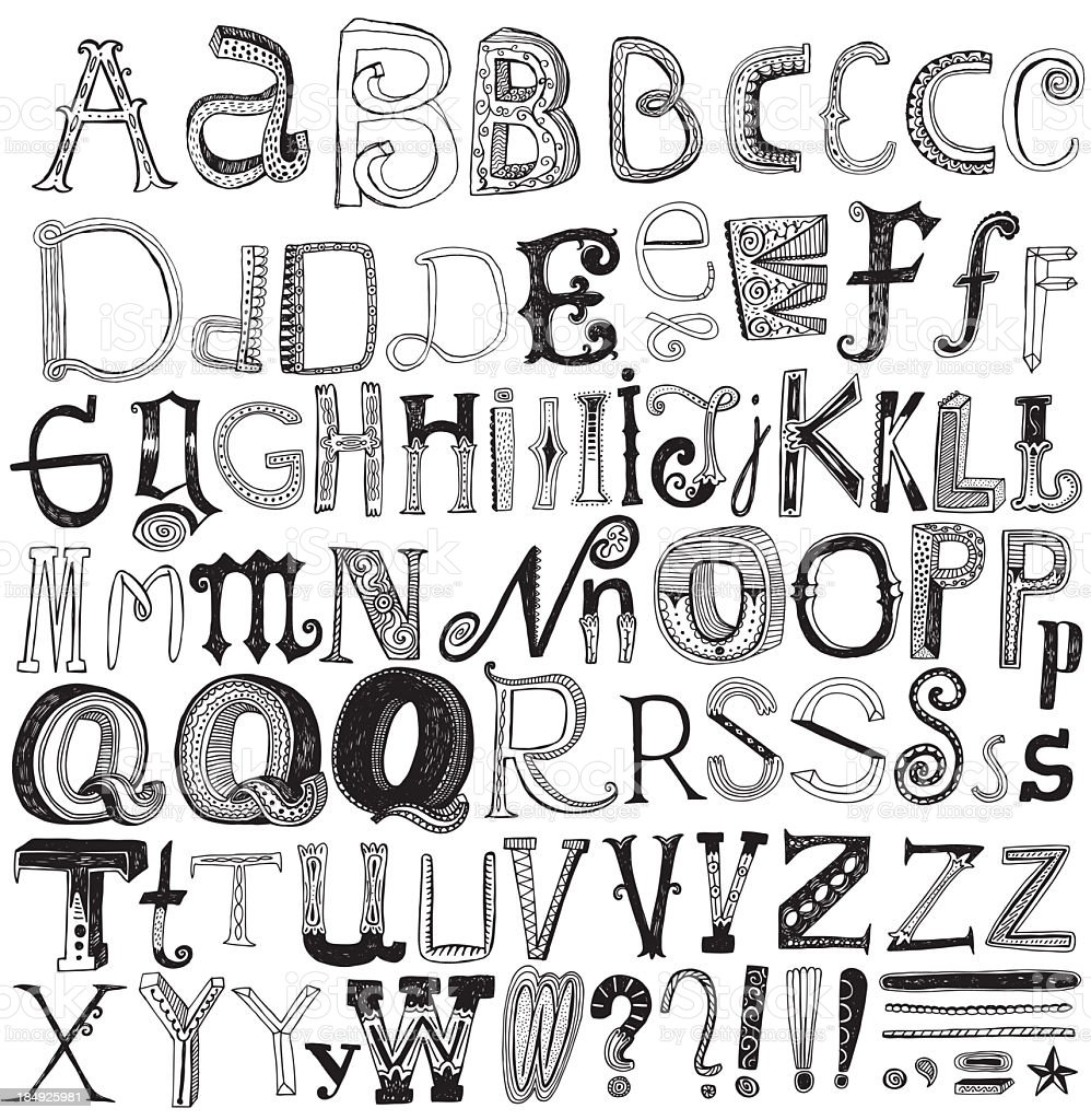Creative hand drawn alphabet isolated on white vector art illustration