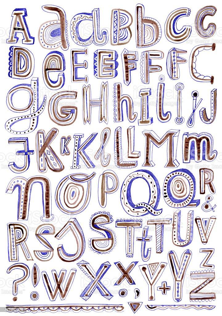 Creative hand drawn alphabet isolated on white vector art illustration