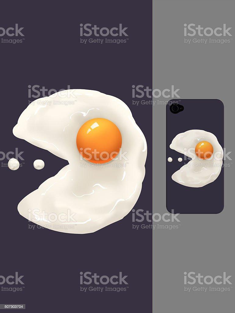 Creative Illustration and Innovative Art: Fried Egg Man vector art illustration