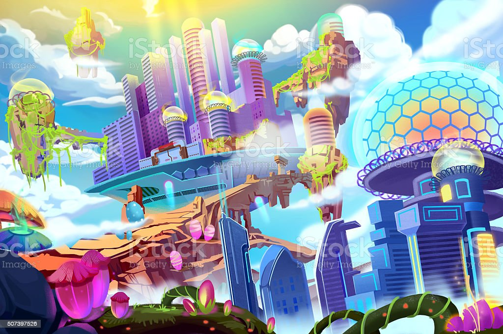 Creative Illustration and Innovative Art: Future City vector art illustration
