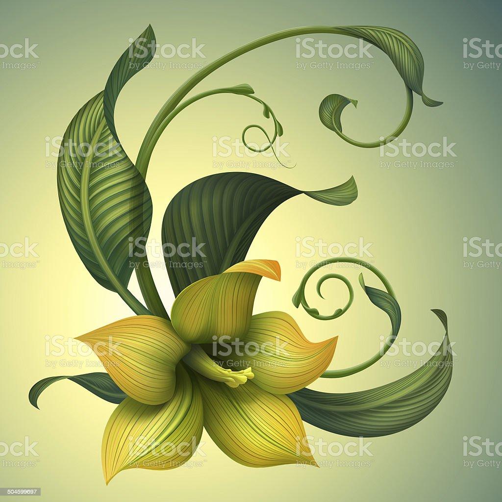 creative illustration of yellow fantasy flower and green leaves vector art illustration