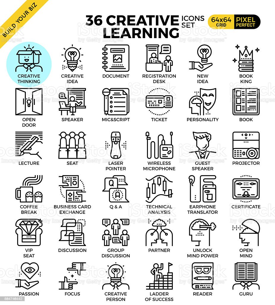 Creative learning icons vector art illustration
