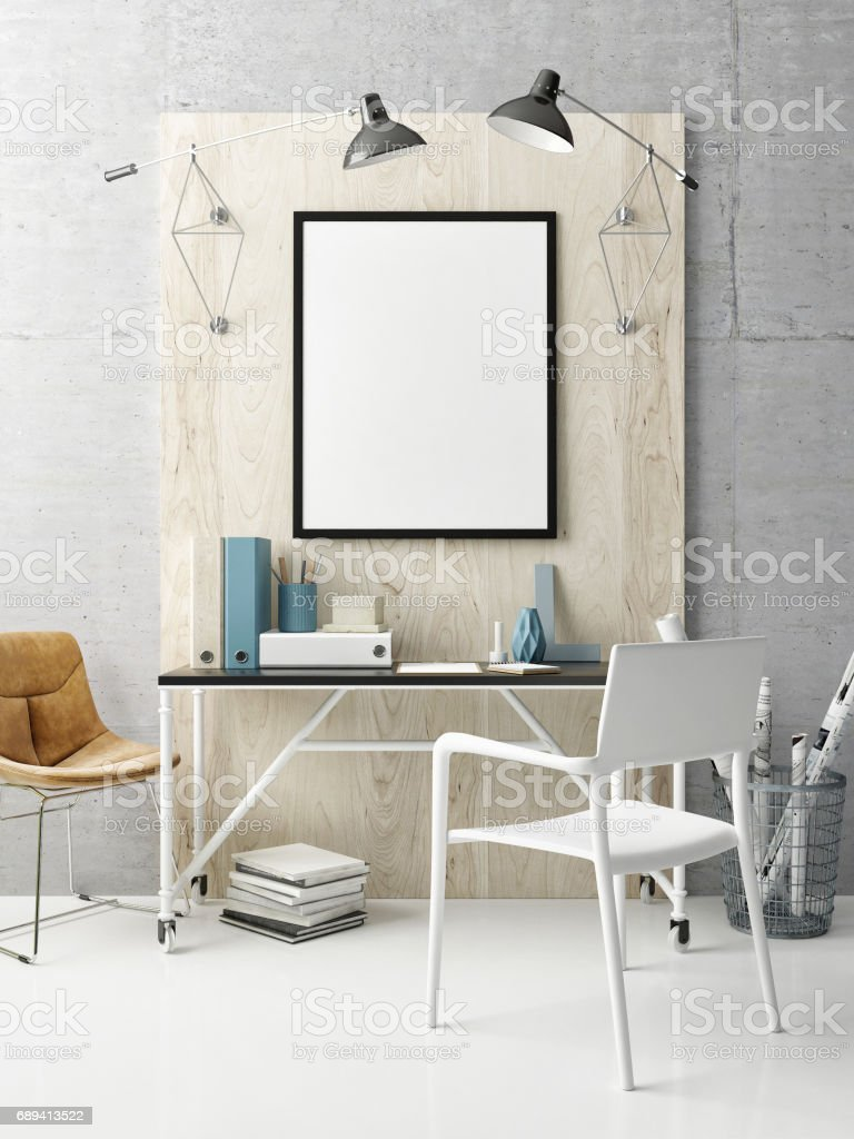 Creative office, hipster interior background stock photo