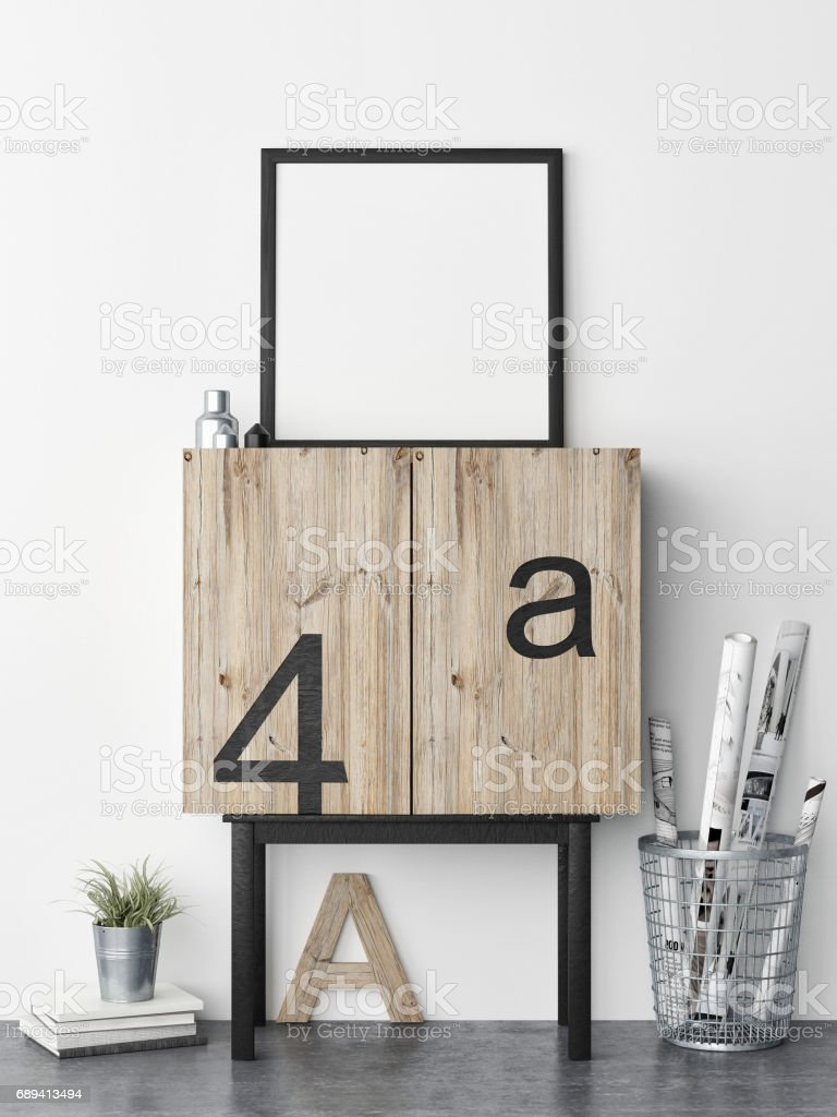 Creative room, close up poster on chest drawers stock photo