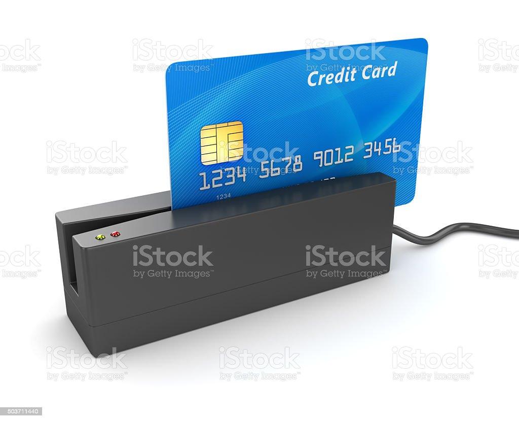 Credit card reader vector art illustration