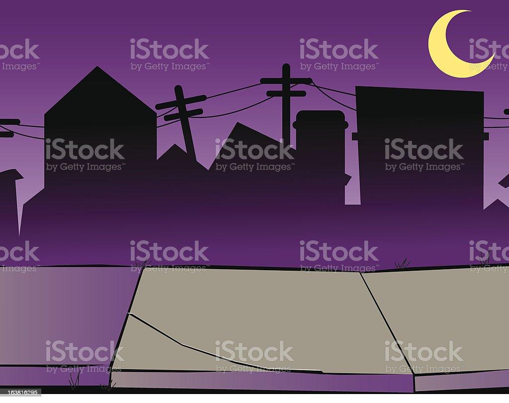 Creepy Halloween Street Background royalty-free stock vector art