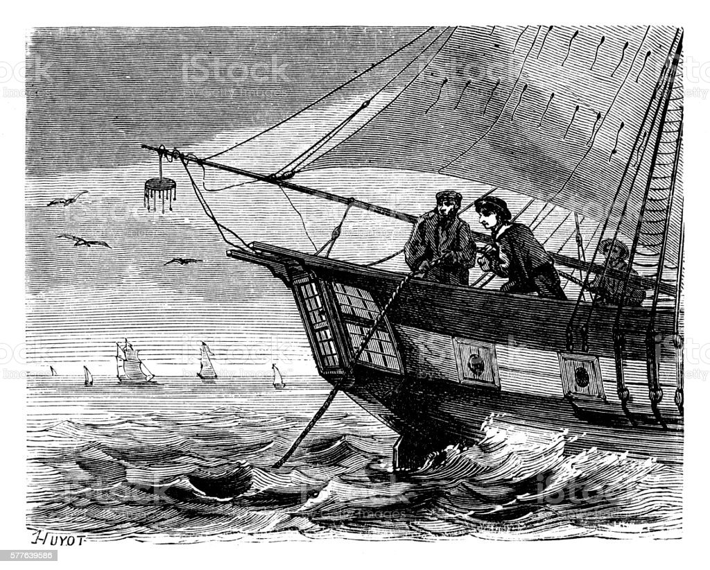 Crew men on cable ship releasing telegraph cable vector art illustration