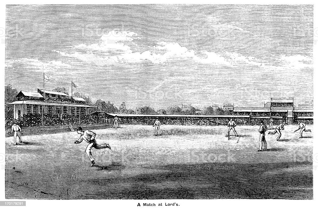Cricket at Lord's c1855 vector art illustration
