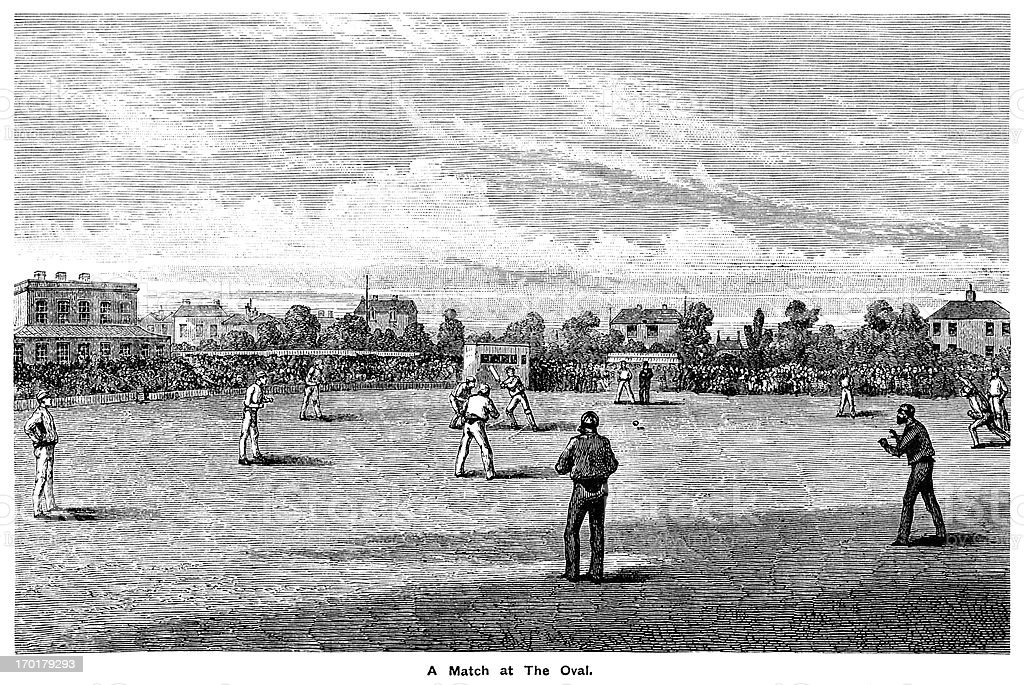 Cricket at The Oval c1855 vector art illustration