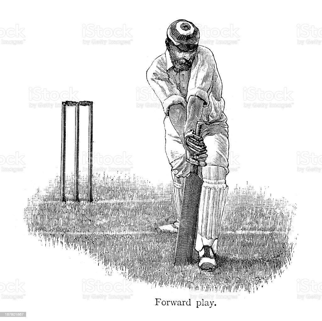 Cricket - Batsman vector art illustration