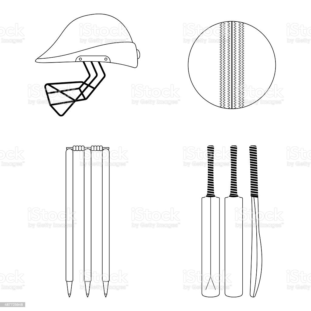 Cricket equipment icons set. Sketch black outlined illustration isolated on vector art illustration