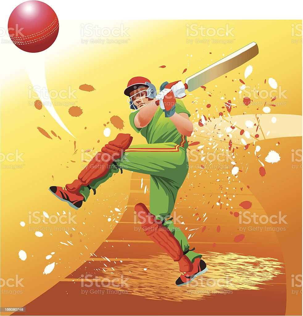 Cricket Player Strikes the Ball for Six vector art illustration