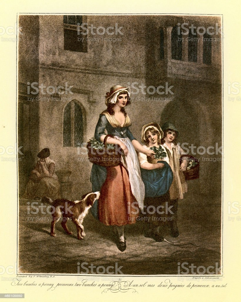 Cries of London - Selling Flowers on the Street 1790 vector art illustration