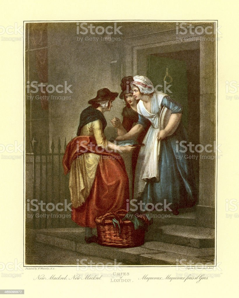 Cries of London - Selling New Mackrel 1790 vector art illustration